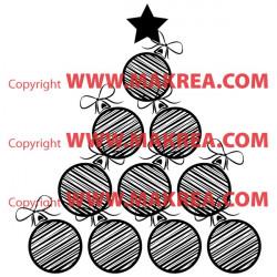 Sticker Sapin de Noël Design Boules et Rubans