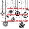 Sticker Noël - Boules de Noël et étoiles suspendues