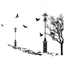 Sticker Décor Lampadaires Arbres et Oiseaux