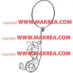Sticker Porcinet s'envole avec un Ballon