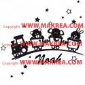 Sticker Petit Train + Prénom personnalisé
