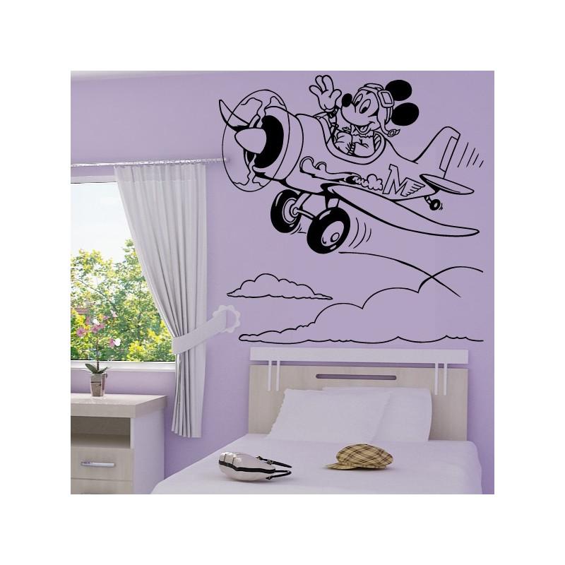 Sticker Mickey Pilote d' Avion