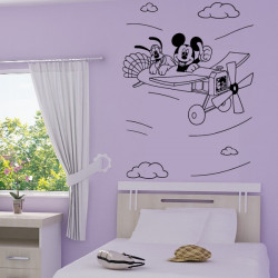 Sticker Mickey et Pluto en Avion