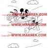 Sticker Mickey Pluto en Avion