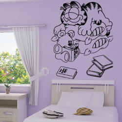 Sticker Garfield et son ourson Lecture