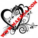 Sticker vitrine Coeur St-Valentin Baroque