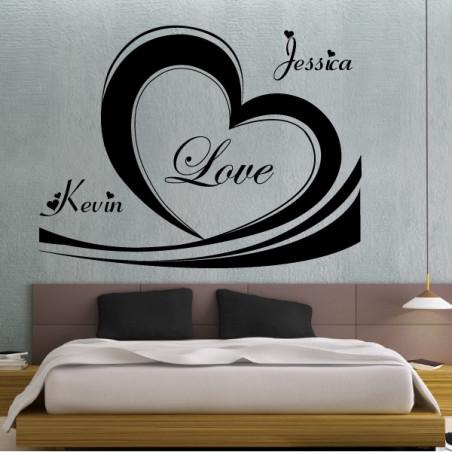 Coeur Love + prénoms personnalisables
