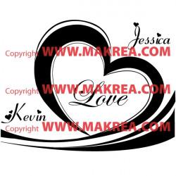 Sticker Coeur Love + prénoms personnalisables