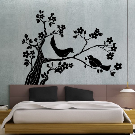 Branche d'Arbre en fleurs et 2 oiseaux