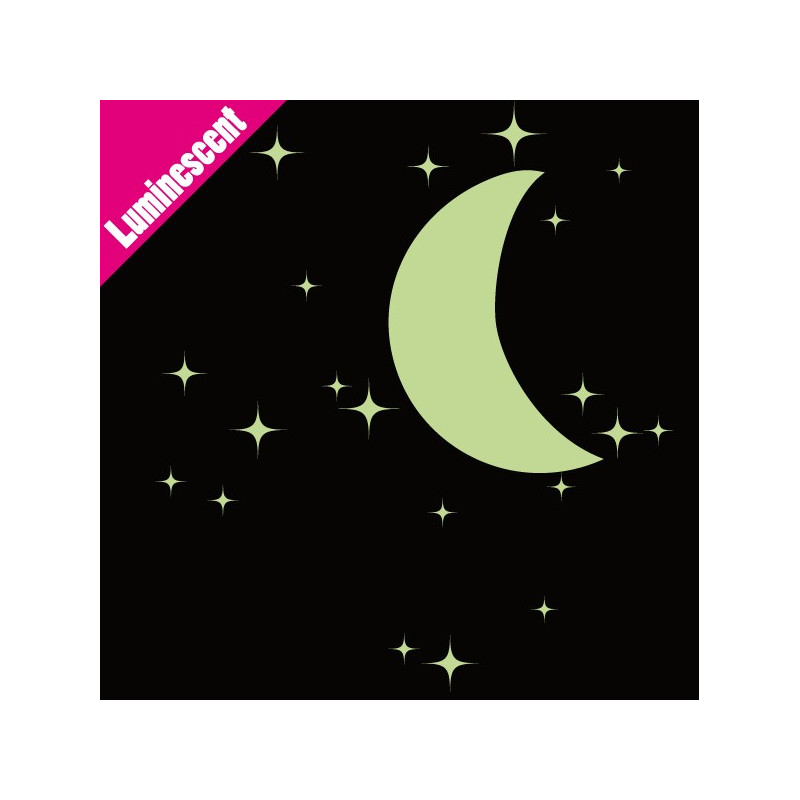 Sticker Luminescent 20 Etoiles et demi-lune