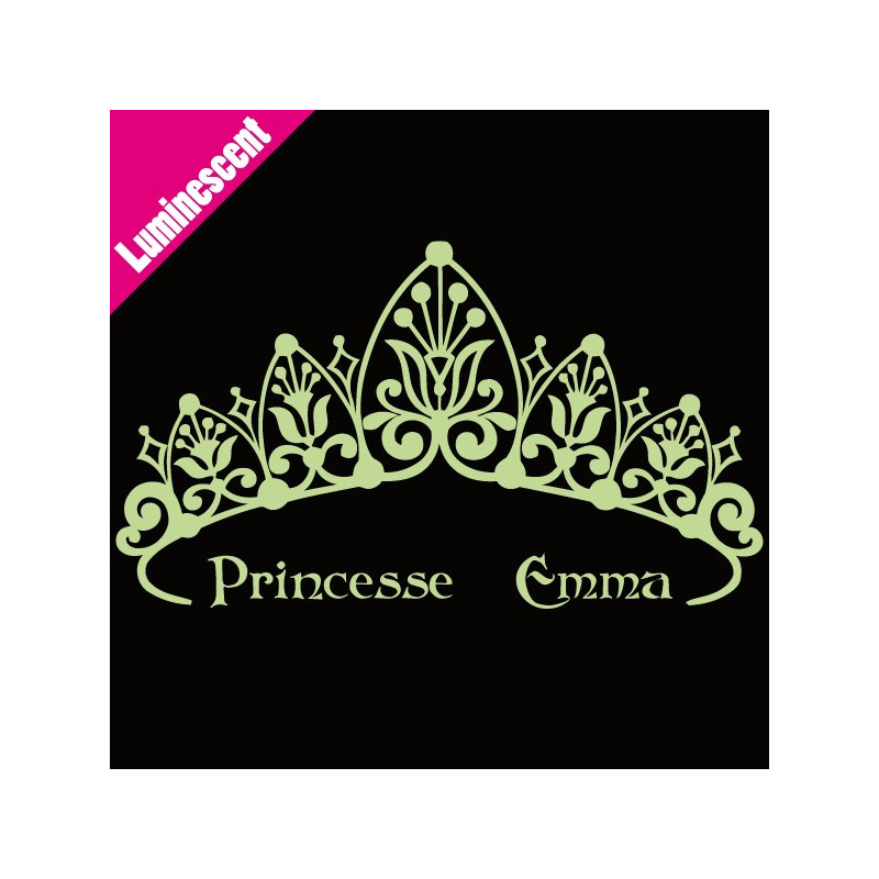 Sticker Luminescent Couronne de Princesse + prénom
