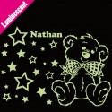 Sticker Luminescent Ourson Etoiles + prénom