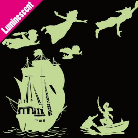 Luminescent PACK Silhouette Peter Pan s'envole, bateau pirate, Capitaine Crochet