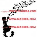 Sticker Silhouette Fillette souffle des bulles