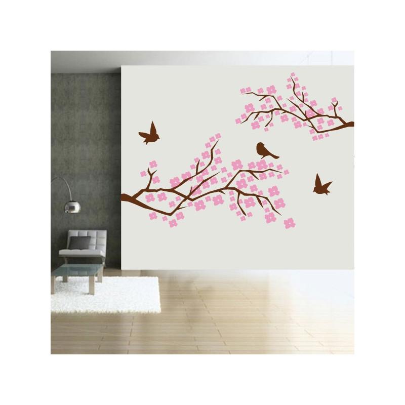 Sticker Branches d'Arbre en fleurs - Oiseaux - 2 couleurs