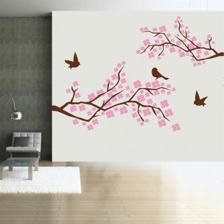 Branches d'Arbre en fleurs - Oiseaux - 2 couleurs