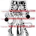 Sticker Monster High - Jumelles Purrsephone et  Meowlody