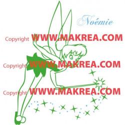 Sticker Peter Pan - Fée Clochette Baguette + prénom 2 couleurs