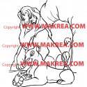 Sticker Roi Lion - Simba Mufasa Sarabi