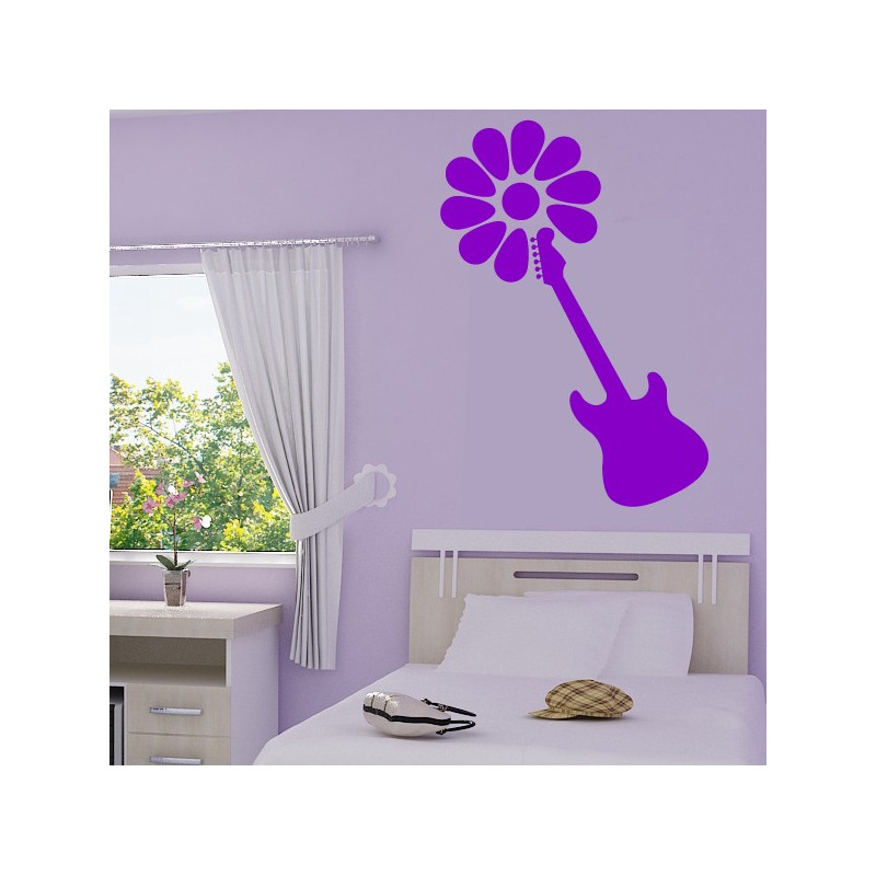 Sticker Guitare Fleurie