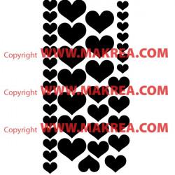 Sticker lot 37 coeurs 4 tailles différentes