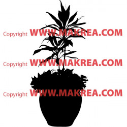 Sticker Plante verte en pot 3