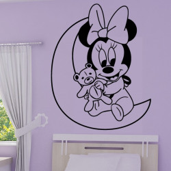 Sticker Mural Minnie Bébé sur la Lune Personnalisé
