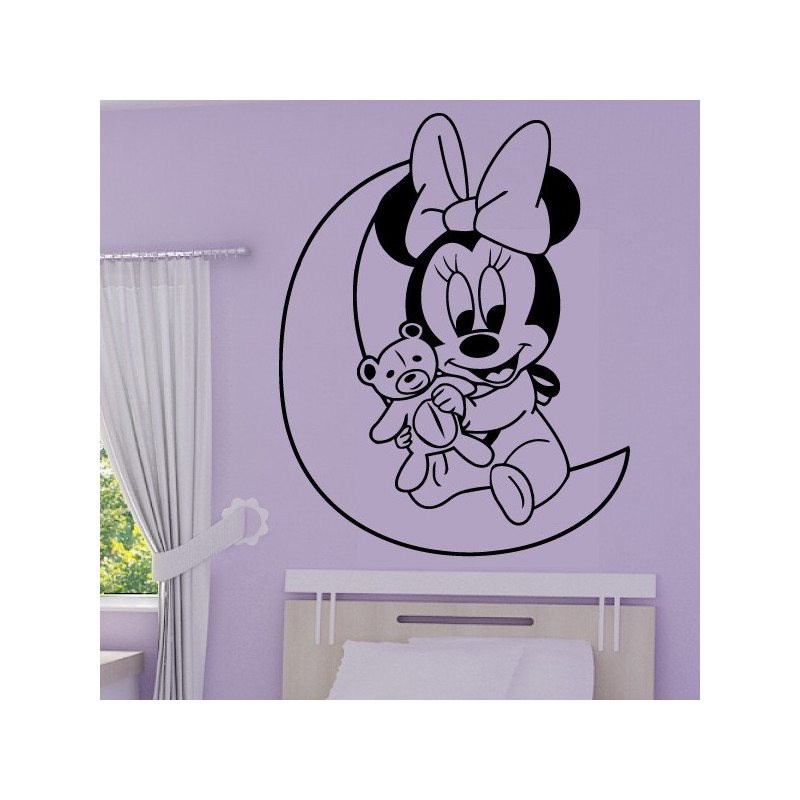 Sticker Minnie Bébé sur la Lune