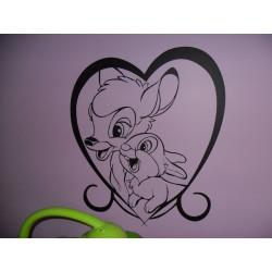 Sticker Bambi et Panpan Coeur