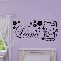 Hello Kitty Fleurs + prénom personnalisable