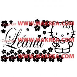 Sticker Hello Kitty Fleurs + prénom personnalisable