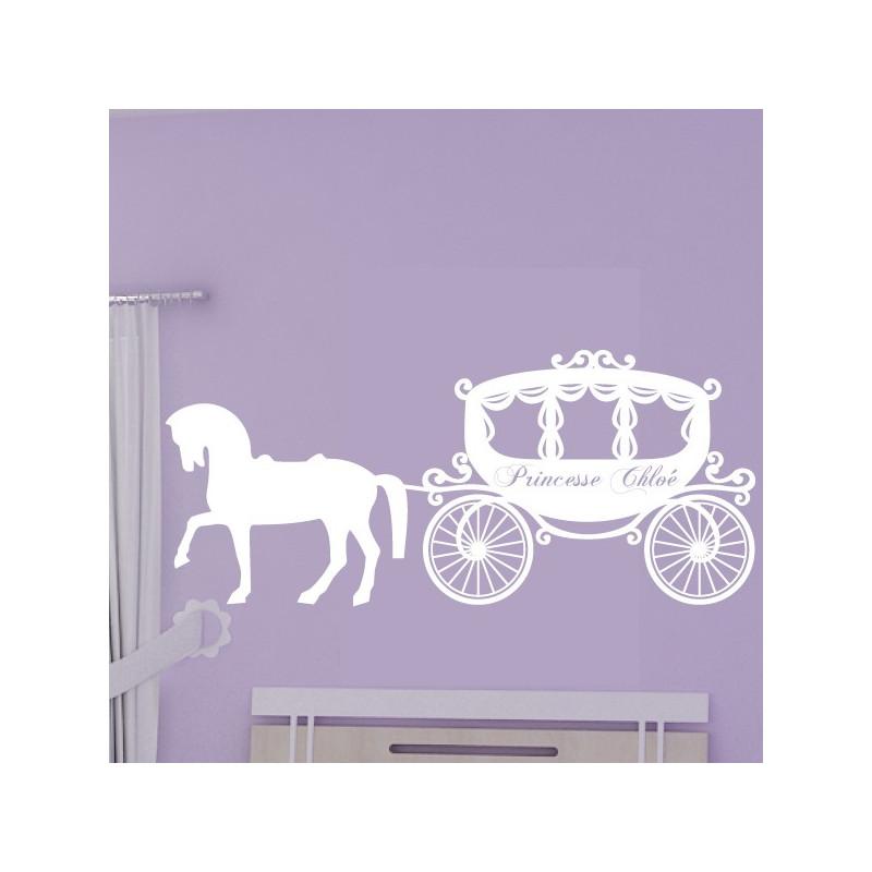 Sticker Carrosse de Princesse + prénom