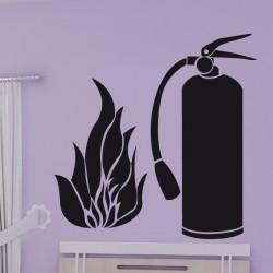 Sticker Extincteur Pompier + Flamme