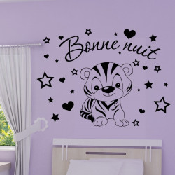 Sticker Bébé Tigre Rigolo - Bonne nuit