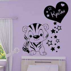 Sticker Bébé Tigre Rigolo - Coeur + Prénom personnalisé