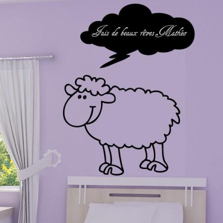 Mouton Rigolo - Nuage Fais de beaux rêves + Prénom personnalisé