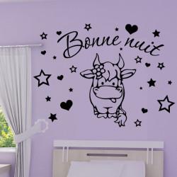 Sticker Bébé Vache Rigolote - Bonne nuit