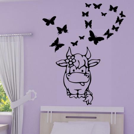 Bébé Vache Rigolote Papillons coeur