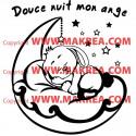 Sticker Bébé Lapin dort sur la Lune + Douce nuit mon ange