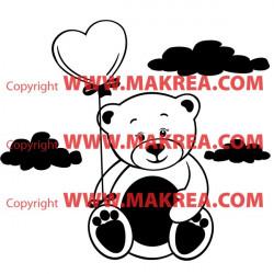 Sticker Ourson Ballon coeur