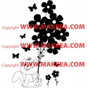 Sticker Petit Chat Bouquet de Fleurs