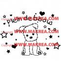 Sticker Chiot Etoiles et Coeurs + Plein de Bisous