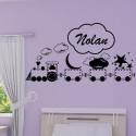Sticker Petit Train du sommeil + Prénom personnalisé