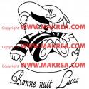 Sticker Ourson Marin Rigolo Dort + Bonne nuit