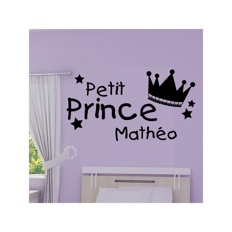sticker couronne petit prince pr nom personnalisable. Black Bedroom Furniture Sets. Home Design Ideas