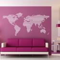 Sticker Carte du Monde - Rayée