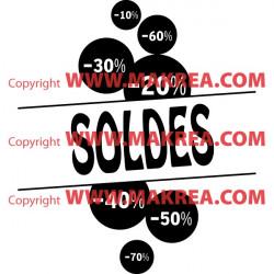 Sticker vitrine Bulles Soldes pourcentage