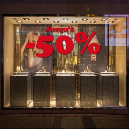 """vitrine Lettrage """"Jusqu'à -50%"""""""