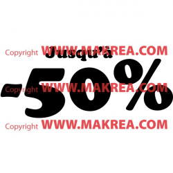 """Sticker vitrine Lettrage """"Jusqu'à -50%"""""""