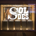 Sticker vitrine Lettrage Soldes Design et %
